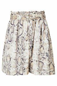 Womens Snake Print Satin Belted Paperbag Shorts - beige - 14, Beige