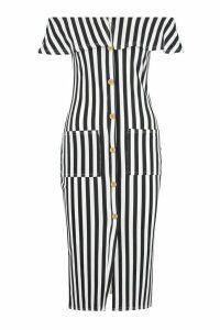 Womens Bardot Tonal Stripe Midi Dress - black - 12, Black