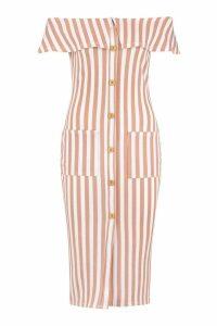 Womens Bardot Tonal Stripe Midi Dress - Beige - 14, Beige