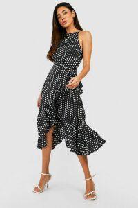 Womens Satin Polka Dot Frill Detail Midi Dress - black - 16, Black