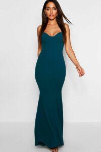 Womens Bustier Detail Fishtail Maxi Dress - green - 6, Green