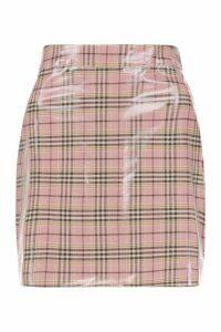 Womens Vinyl Check Mini Skirt - Pink - 14, Pink