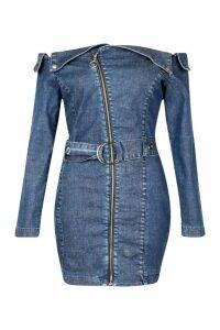 Womens Off The Shoulder Denim Bodycon Dress - blue - 16, Blue