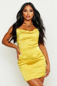 Womens Florence Satin Cowl Neck Bodycon Dress - yellow - 14, Yellow