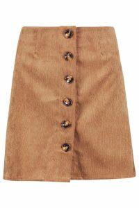 Womens Baby Cord Button Through Skirt - brown - M, Brown