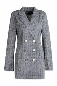 Womens Button Front Split Sleeve Blazer Dress - grey - 16, Grey