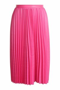 Womens Pleated Leather Look Midi Skirt - Pink - 8, Pink