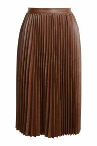 Womens Pleated Leather Look Midi Skirt - brown - 14, Brown