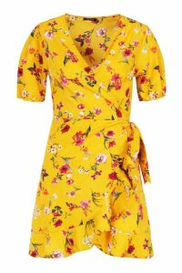 Womens Floral Wrap Skater Dress - yellow - 16, Yellow