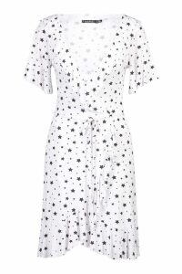 Womens Star Wrap Tea Dress - white - 10, White