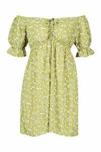 Womens Woven Ditsy Floral Shirred Waist Bardot Mini Dress - green - 8, Green