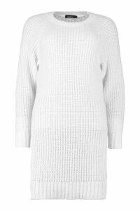 Womens Soft Knit Jumper Dress - white - M, White