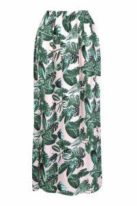 Womens Palm Print Side Split Maxi Skirt - Pink - 8, Pink