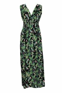 Womens Woven Plunge Shirred Waist Maxi Dress - black - 10, Black