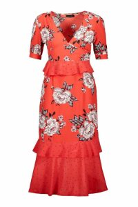 Womens Floral Polka Dot Mix Midi Dress - red - 16, Red