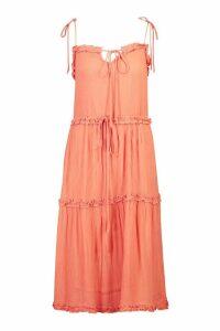 Womens Cheesecloth Tiered Midi Skater Dress - orange - 10, Orange