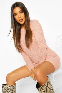 Womens Soft Knit Jumper Dress - pink - M, Pink