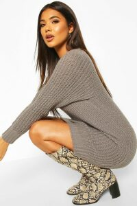 Womens Soft Knit Jumper Dress - grey - M, Grey