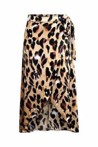 Womens Leopard Print Satin Wrap Midaxi Skirt - brown - 6, Brown