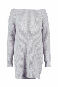 Womens Soft Knit Slash Neck Jumper Dress - grey - M, Grey