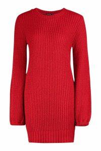 Womens Rib Detail Blouson Sleeve Jumper Dress - red - M, Red