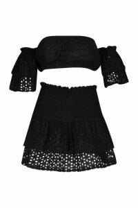 Womens Broderie Ruffle Sleeve Bardot & Mini Skirt Co-ord - black - 14, Black
