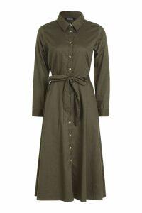 Womens Belted Utility Midi Shirt Dress - green - 16, Green