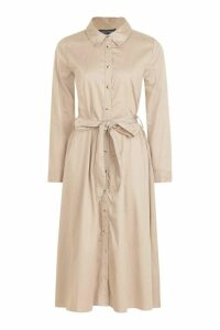 Womens Belted Utility Midi Shirt Dress - beige - 16, Beige