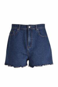 Womens Plus Scallop Hem Denim Shorts - blue - 16, Blue