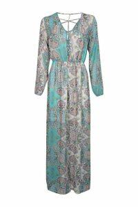 Womens Cage Detail Paisley Woven Maxi Dress - multi - 18, Multi