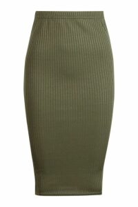 Womens Jumbo Rib Midi Skirt - green - 6, Green