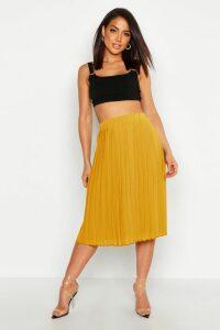 Womens Crepe Pleated Midi Skirt - yellow - 8, Yellow