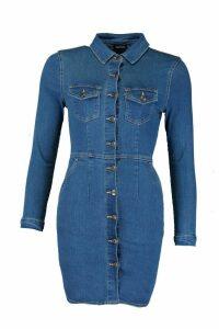Womens Long Sleeve Button Front Denim Mini - blue - 16, Blue