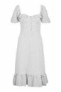 Womens Puff Sleeve Bustier Ruffle Hem Polka Dot Midi Dress - white - 10, White