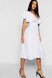 Womens Mini Polka Dot Ruffle Angel Sleeve Midi Dress - white - 16, White