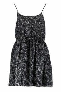 Womens Polka Dot Print Strappy Sundress - black - 12, Black