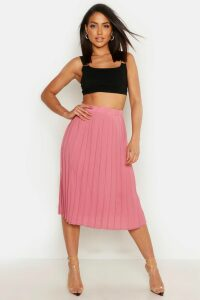 Womens Crepe Pleated Midi Skirt - pink - 14, Pink