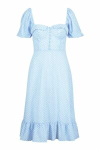 Womens Puff Sleeve Bustier Ruffle Hem Polka Dot Midi Dress - blue - 10, Blue