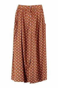 Womens Polka Dot Button Through Midi Skirt - brown - 10, Brown