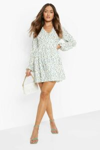 Womens Ruched Waist Floral Tea Dress - white - 10, White