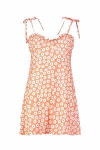 Womens Tie Strap Bust Detail Floral Sun Dress - orange - 14, Orange