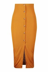 Womens Ribbed Mock Horn Button Through Midaxi Skirt - yellow - 16, Yellow