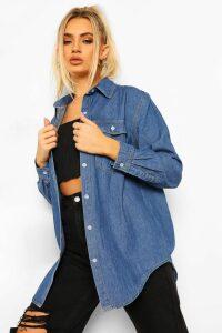 Womens Oversized Denim Shirt - blue - 14, Blue