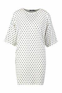 Womens Polka Dot Oversized Drop Shoulder T-Shirt Dress - white - 10, White