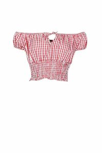 Womens Woven Ruched Waist Gingham Off Shoulder Top - red - 12, Red
