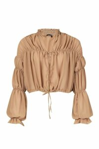 Womens Chiffon Volume Sleeve Ruched Smock Top - beige - 12, Beige