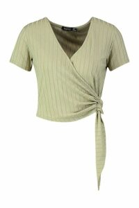 Womens Recycled Ribbed Wrap Tie Detail Top - green - 10, Green
