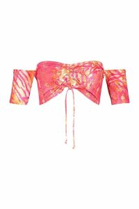 Womens Recycled Slinky Tropical Bardot Ruched Top - Pink - 14, Pink