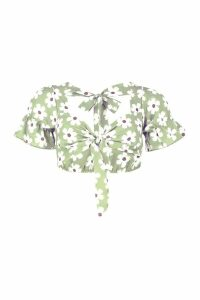 Womens Daisy Tie Front Top - green - 14, Green