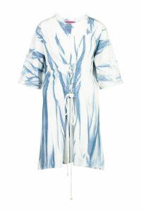 Womens Tie Dye Corset Detail Oversized T-Shirt Dress - blue - 16, Blue